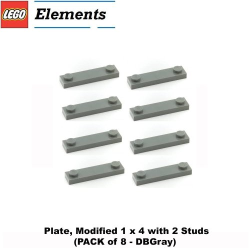 Lego-Parts-Plate-Modified-1-x-4-with-2-Studs-PACK-of-8-DBGray