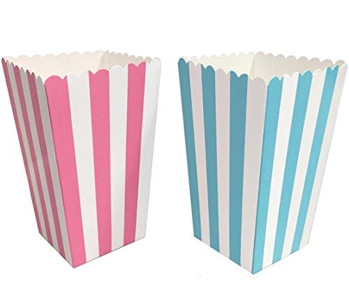 Gender Reveal Paper Popcorn Boxes - Blue Pink White - Stripe Pattern - 24 Pack -