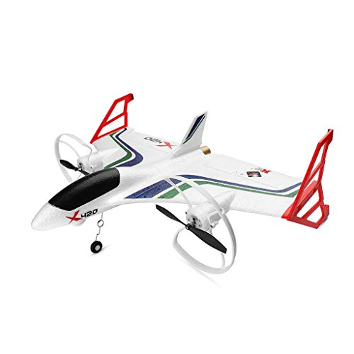 Jeeke XK X420 2.4G 6CH 3D6G Aerobatic Vertical Take-Off and EPP RC Airplane RTF, 4.3g High-Precision Digital Servo, 3D/6G Mode Conversion, Ship from USA (White)