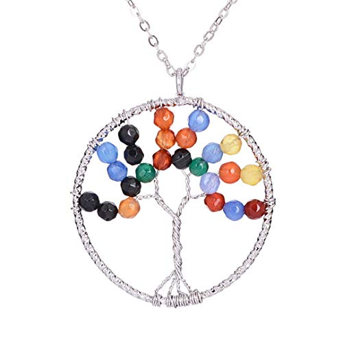 (Rainbow Natural Stone Beads Tree Of Life Pendant Necklace Beautiful Healing 7 Chakra Pendants Necklaces Silver)
