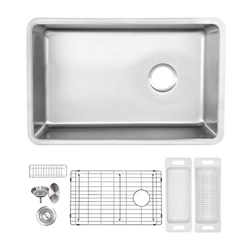 ZUHNE Verona 24 x 19 Inch Single Bowl Under Mount Reversible Offset Drain 16 Gauge Stainless Steel Kitchen Sink W. Grate Protector, Caddy, Colander Set, Drain Strainer and Mounting Clips, 27