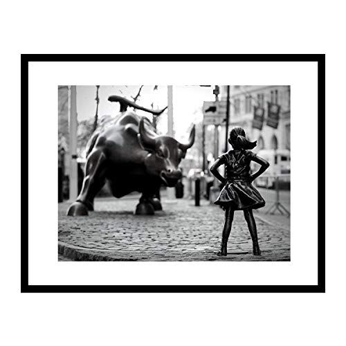 (Fearless Girl Statue, Feminist gift, New York Framed, Framed art, Art, Black and White Art Print,Framed Art Print 14x18 inch, Girl Power, Home Decor, Wall street bull, Equality, Women rights)