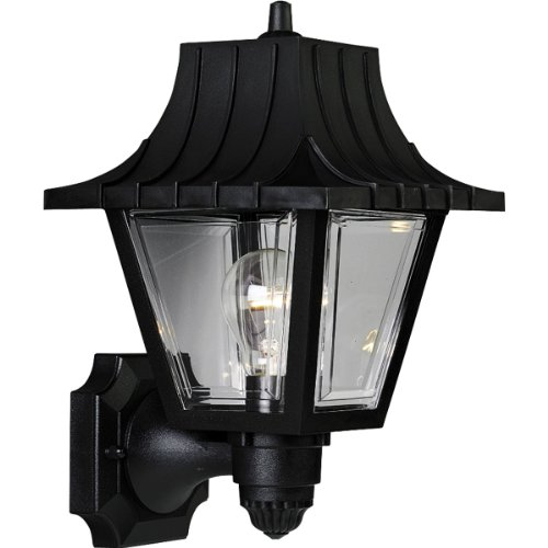 Progress Lighting P5814-31 Wall Lantern with Ribbed Mansard Roof Beveled Clear Acrylic Panels, Black