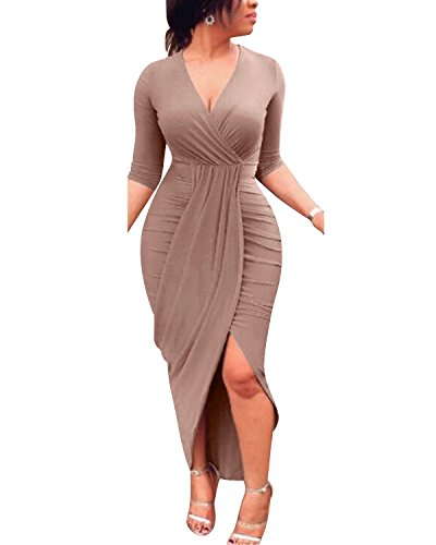 Femme Froncée En Bodycon Manches Sexy Col Midi Longues Wrap V Gikim Dress Marron 6f7gYbyv