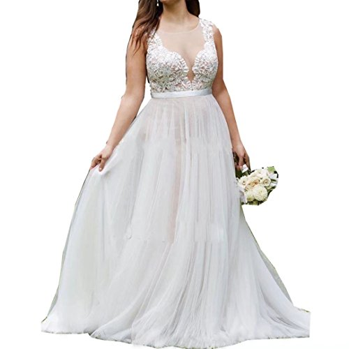 Jasminebridal Women's Plus Size Tulle Wedding Dresses Round Neck Little Tailing Bridal Gowns Elegant Church Outdoor Prom Dress Ivory,16