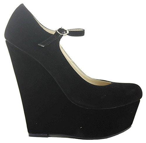 Ladies Court Wedge Size Black Womens Classic Pumps Platform Smart Wedges Shoes High Heel rpwrqRZntx