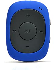AGPTEK G02 8GB Clip MP3 Player with FM/Shuffle, Portable Music Player with Sweatproof Silicone Case for Sports, Blue