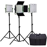 GVM gvm454645 3 LED Video Light And Stand Lighting Kit, Dimmable Bi-Color 520 Photography Lights Aluminum Alloy Heat Dissipation Shell With Suitcase, Adapter, Soft Diffusion Filter, Barn Door