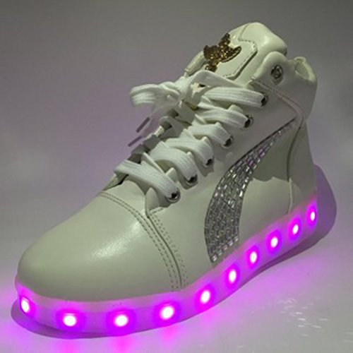 [Presente:pequeña toalla]JUNGLEST® Unisex 7 Colors USB Carga LED Luz Luminosas Flashing Sneakers Altotop Zapatos Zapatillas de Depo c23