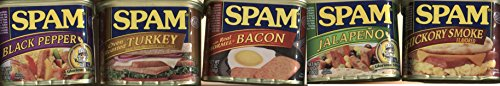 (Spam Bundle of 5 Flavors: Bacon, Turkey, Black Pepper, Jalapeno, Hickory Smoked)