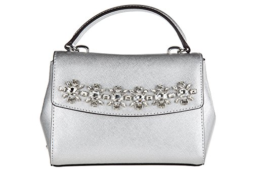 b7fc274c1a4f Michael kors Ava Jewel XS Extra Small Silver Saffiano Leather Crossbody -  Buy Online in UAE.