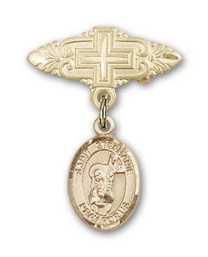 Icecarats Or Bijoux De Créateurs Rempli R. Stephanie Broche De Badge Charme Avec Une Croix X 3/4