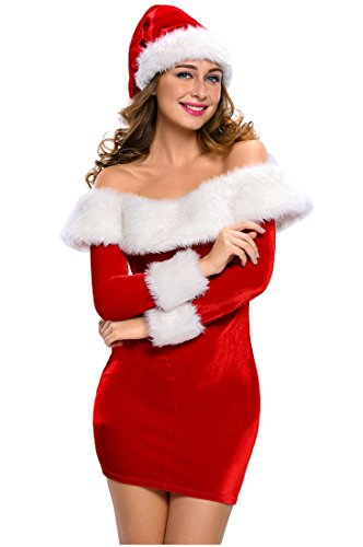 Mumentfienlis Womens Boat Neck Christmas Costume Mrs Santa Three Quarter Costume Size L Red
