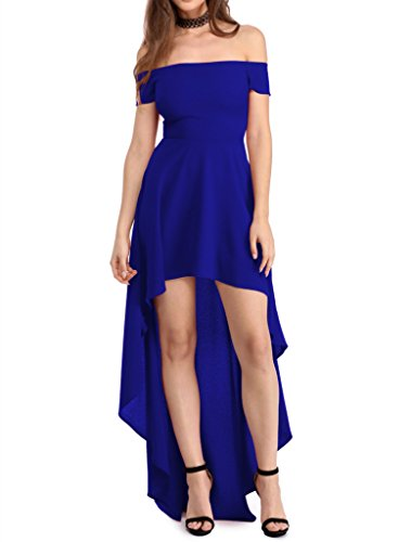Dearlovers Womens Sexy Off Shoulder Cocktail Party Skater Dress S Blue