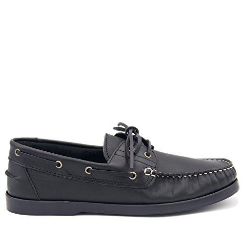 CASTELLANÍSIMOS 101100 Zapatos Nauticos Hombre Piel con Cordones NEGRO