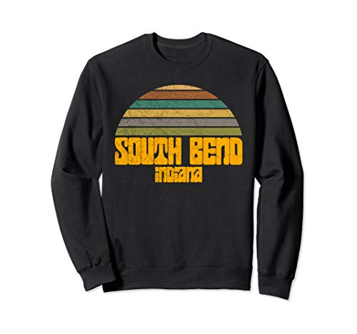 VINTAGE 70s 80s STYLE SOUTH BEND IN Distressed Graphic  Sweatshirt