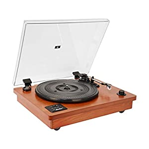 Vintage Style Natural Wood Belt Driven Turntable with 3 Speed Built in Stereo Speakers, Bluetooth and Vinyl-to-MP3 Recording