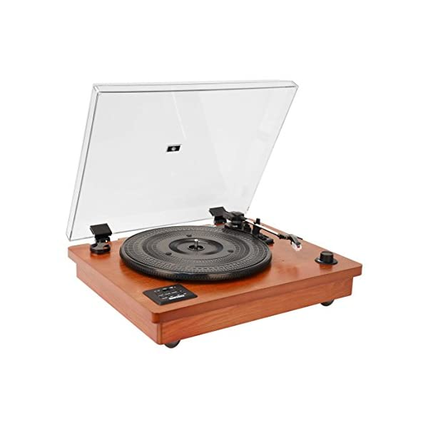 HOFEINZ Vintage Style Natural Wood Belt Driven Turntable with 3 Speed Built in Stereo Speakers, Bluetooth and Vinyl-to… 3
