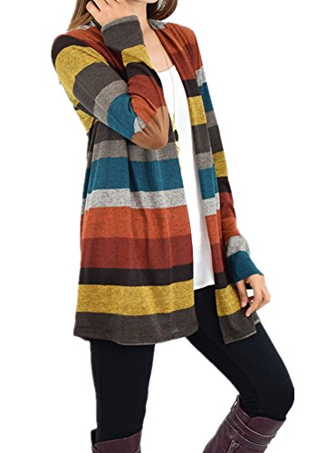 Poulax Women's Open Front Connection Striped Knitted Lightweight Cardigan Sweater Mulit XL=US12-14 (Striped Cardigans For Women)