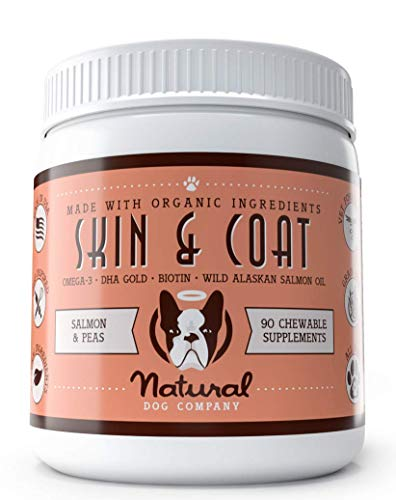 Natural Dog Company - Skin & Coat Omega Supplement | Supports Healthy Shiny Coats, Relieves Dry, Itchy Skin | Salmon & Pea Flavor - 90 Chews
