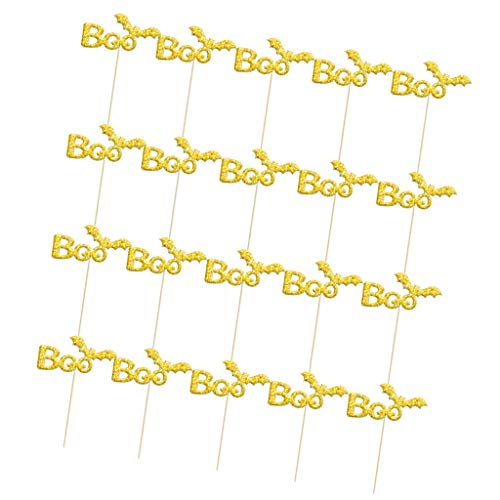Baoblaze Pack of 20 Glitter Paper Cake Topper Cupcake Toothpicks Halloween Baking Accessories - Gold Boo, 8 x 3.8 cm -