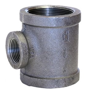 1-1/2 x 1-1/2 x 1 in. 150# Black Malleable Iron Reducer Tee