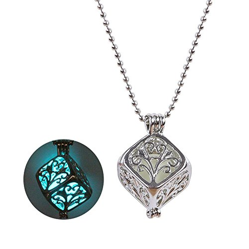 Young & Forever Women's Trendsetter Glow-In-The-Dark Enchanting Cube 925 Silver Pendant by Young & Forever