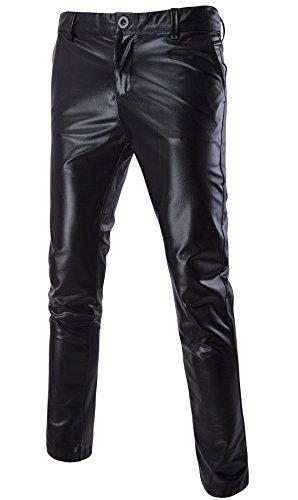 MADA Men's Skinny Night Club Metallic Faux Leather Pants 36/Tag Asian XXXL ()