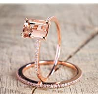 Promsup 2Pcs Ring/Set 18K Rose Gold Filled White Topaz Wedding Engagement Gift Size 5-10 (9)