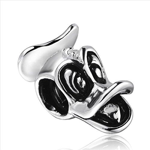 (EvesErose Silver Donald Duck Bead Charm Fits Pandora & Similar Bracelets)