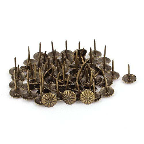 Uxcell a16080300ux0493 7/16-inch Dia Chrysanthemum Nail Pushpin Upholstery Thumb Tack Bronze Tone 60pcs (Pack of 60) (Tone Upholstery)