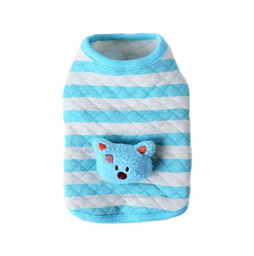 - BBEART Dog Clothes,Lovely Small Dog Puppy Clothes Soft Warm Cotton Vest Dog T-Shirt Coat Cat Clothing For Small Dog Puppy Chihuahua Yorkshire (XS---19cm, Blue Striped Bear)