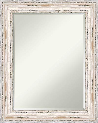 Allure Framed Art - Amanti Art Framed Allure White Solid Wood Wall Mirrors, Glass Size 18x24, Alexandria Wash