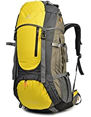 Tofine External Frame Hiking Backpack with Rainfly 60L Waterproof Nylon Raincover
