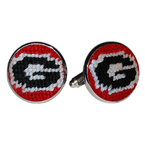 University of Georgia Bulldogs Needlepoint Cufflinks by Smathers & Branson Bulldog Needlepoint