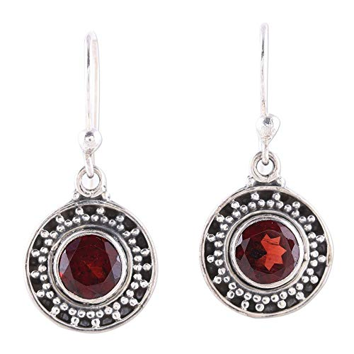 NOVICA Garnet .925 Sterling Silver Dangle Earrings, Circular Sparkle'