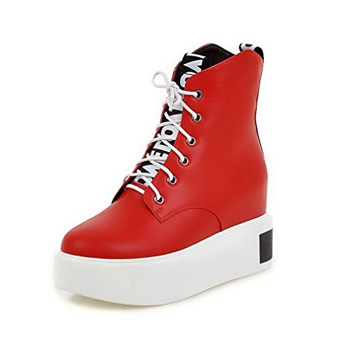 Agoolar Mujeres Round Closed Toe Tacones Altos Material Suave Low-top Solid Botas Red