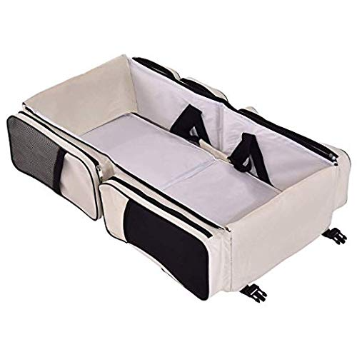 HAPPYGRILL 3 in 1 Baby Bassinet Diaper Bag, Waterproof Oxford Portable Bassinet, Travel Changing Station with Fitted Sheet, Baby Traveling Bag Mother's Bag(Beige)