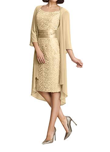 Abendkleider Spitze Marie Partykleider Knielang Brautmutterkleider Champagner Damen Modern La Braut Etuikleider Twfcq7YHw