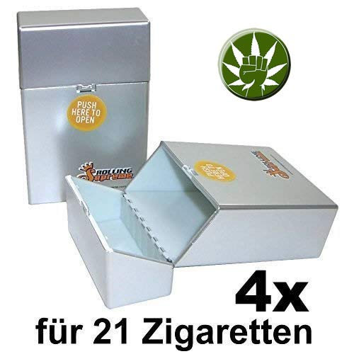 Rolling Supreme 4 x Cigarrillos Caja Plata Metálico para 21 ...