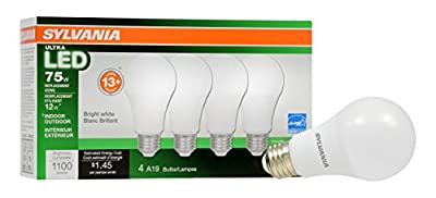 Sylvania Home Lighting 74427 A19 Sylvania Ultra 75 W Equivalent LED Light Bulb, Dimmable, Efficient 12 W 3500K (4 Pack), Bright White, 4 Piece