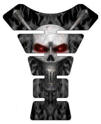 Motorcycle sportbike black flame skull red eyes 3d gel Tank Pad tankpad protector by Immortal Graphix (Image #1)