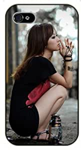 For Iphone 5C Case Cover Meditating girl - black plastic case, hot girl, girls