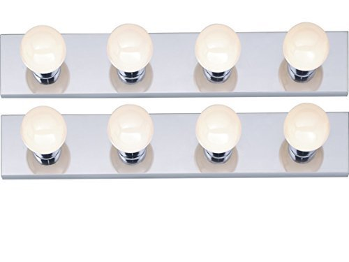 Four Light Vanity Strip, Polished Chrome, 24-Inch, (2 Pack) by Dysmio Lighting