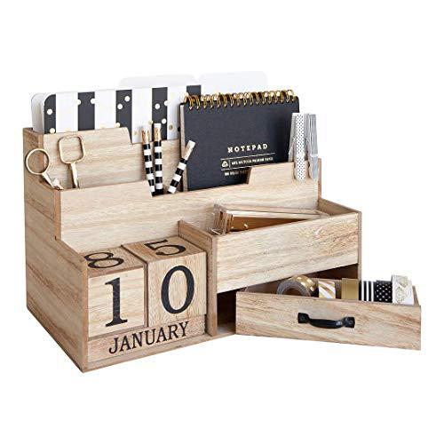 Wooden Mail Organizer Desktop with Block Calendar - Mail Sorter Countertop Organizer - Desk Decorations for Women Office