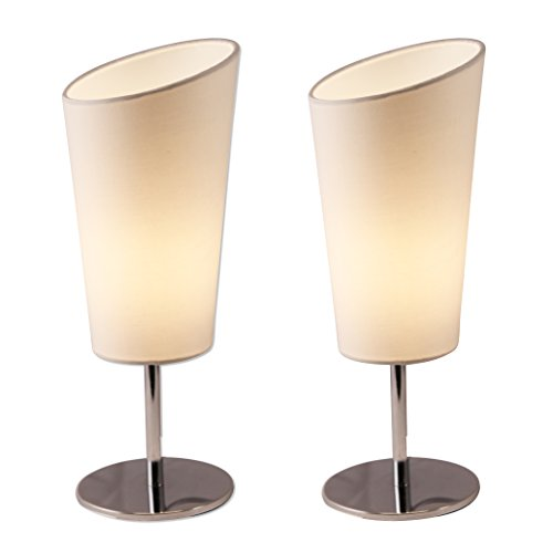 2 Side Metal (Lightaccents 4061TL-2PK-20 Bedroom Side Metal Table Lamps (Set of 2), Off White)
