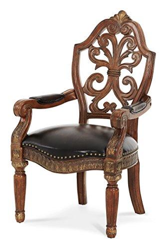 - Michael Amini 72044-55 Villa Valencia Pull Up Desk Arm Chair, Classic Chestnut