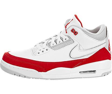 Jordan Nike Men's Retro 3 White/University Red/Neutral Grey Leather Basketball Shoes 9 M US (Mens Air Jordan Retro 3 Basketball Shoes)