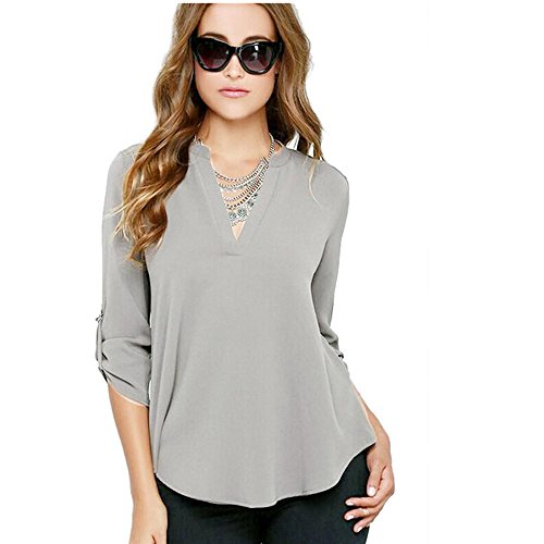 Lisingtool Women's V Neck Chiffon Long Sleeve Blouse Top Shirts (S, Gray)