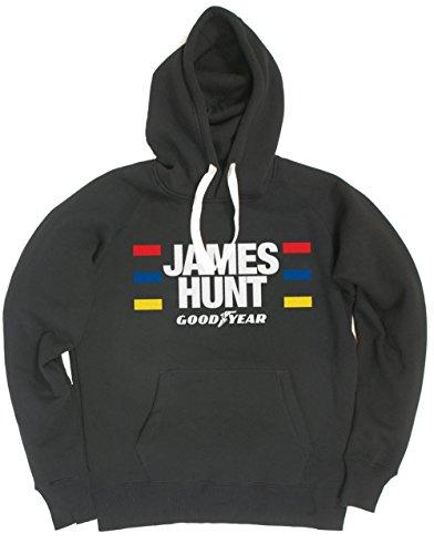 Hotfuel Men's James Hunt, Formula One, HOODED Sweatshirt Large Black ()